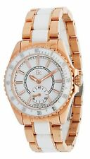 GC GUESS COLLECTION WHITE CERAMIC+ROSE GOLD TONE SWISS MADE WATCH 47003L1+BOX