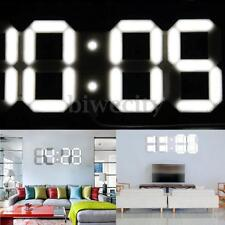Remote Control Large White 3D Digital LED Wall Clock Timer Calendar Temperature
