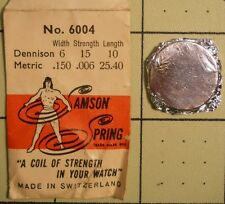 SAMSON SPRING Watch Mainspring No 6004 Dennison 6 X 15 10 Metric .150 .006 25.40