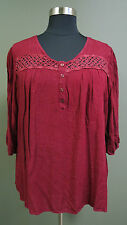 ONE WORLD PLUS SIZE BURGUNDY W/ CROCHET LACE 3/4 SLEEVE PEASANT HI-LO TOP Sz 2X