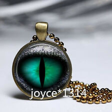 Vintage dragon eyes Cabochon bronze Glass Chain Pendant Necklace #562