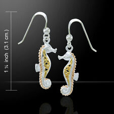 Celtic Knots Seahorse Three Tone .925 Sterling Silver Earrings by Peter Stone