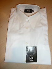 NEW $220+ IKE BEHAR Mens Dress SHIRT 14.5 33 White Made in USA 100% Cotton BC