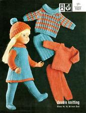 "VINTAGE KNITTING PATTERN 16-18""-20"" DOLLS CLOTHES 7 ITEMS TO KNIT"