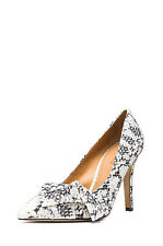 ISABEL MARANT Poppy Calfskin Leather Beige Gray Python Bow Point Toe Pumps 8/38