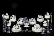 10 TIER WEDDING CAKE STAND WITH FOUNTAIN AND 6 CANDLE VOTIVE SET (STYLE R805)