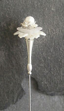 VINTAGE / ANTIQUE STYLE WHITE FAUX PEARL & SILVER PLATED HATPIN/HAT PIN