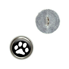 Paw Print - Pet Dog Cat - White on Black - Craft Sewing Novelty Buttons Set of 4