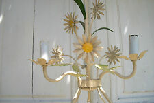 Pretty Vintage French Tole ware tin metal daisy Light Country Cottage Chandelier