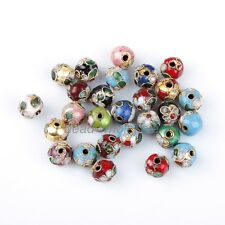 100pcs/Lot Mixed Round Cloisonne Bead Charms Fit DIY Bracelet 8mm