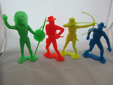 "4 Vintage LARGE SCALE Cowboys Indians Plastic Toy Soldiers Marx? Figures 6"" Tall"