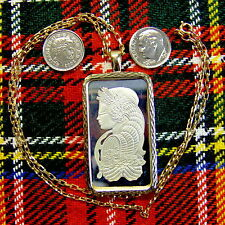 9ct gold New bullion lady luck pendant  & chain with one ounce fine silver ingot
