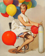 "Vintage GIL ELVGREN Pinup Girl CANVAS PRINT Poster Taking off Helium Gas 36""X24"""