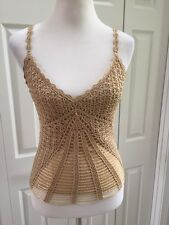 Le Chateau gold crotchet beaded tank size XS