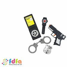 BLACK POLICE SET WITH GUN HANDCUFFS BADGE & WATCH - mens boys fancy dress toy