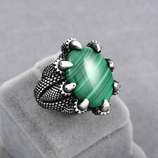 925 Sterling Silver Turkish Handmade Jewelry Malachite Claw Men's Ring Size 11