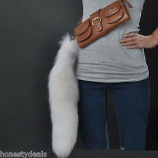 20''  50cm Large Gray White Real Cross Fox Fur tail bag Charm Car KeyChain Ring