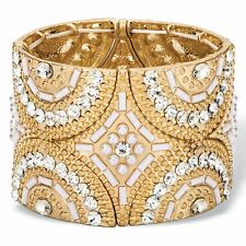 PalmBeach Jewelry Crystal & Simulated Pearl Gold Tone Art Deco Stretch Bracelet