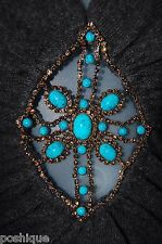 Sky Brand Clothing XS Top Gray Rhinestone Crystal Turquoise Wool Party Spring