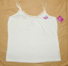 Just My Size JMS Plus Lace Trim Ribbed Tank Cami White 2X 18-20 NWT