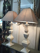 A Pair Of Tall Grey Washed Block Wood Table Lamps Lights With Linen Shades 94cm