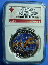 CANADA 25 DOLLARS 2015 STAR CHARTS THE GREAT ASCENT COLOR NGC PF-69 FINE SILVER