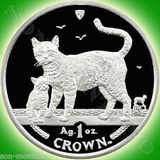 2002 Isle of Man - BENGAL CAT & KITTEN - 1 oz Silver Proof Coin in Box with COA