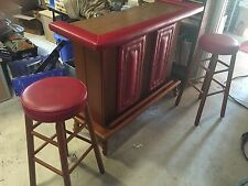 Vintage Portable Bar & Stool Set Wood & Retro Red Studded Vinyl Mobile home