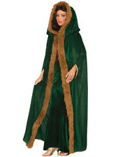 Ladies Game Of Thrones Green Fur Trimmed Cloak Medieval Fancy Dress Costume Cape