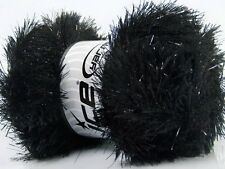 Large 100 gram skein Black Eyelash Dazzle Ice Metallic Eyelash Yarn 37323