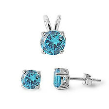 DECEMBER GIFT! BLUE TOPAZ EARRING & PENDANT SOLID .925 STERLING SILVER SET!