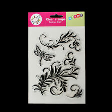 Clear Unmounted Silicone Stamps Dragonfly and Floral Patterns Silicone seal