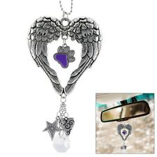 Wings of an Angel Purple Paw Rear View Mirror Car Charm