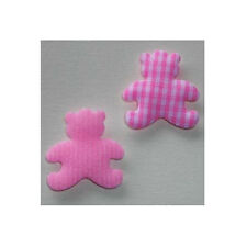 25 x PINK GINGHAM FABRIC TEDDY BEARS CARD MAKING CRAFT EMBELLISHMENTS  BABY GIRL