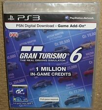 GRAN TURISMO 6 1 MILLION GAME CREDITS POINTS CARD CASE PACK VOUCHER NEW SEALED!