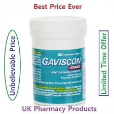Gaviscon Advance Chewable Tablet - 60 For Indigestion,Acid,Heartburn Peppermint