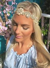 GOLD DIAMOND Fiore Avorio Perla Capelli Head Band choochie CHOO Hippy Bohemien