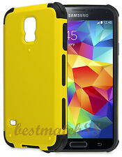 for Samsung galaxy i9600 S5 G900 case 2 layer yellow black shockproof hybrid
