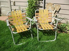 Vtg Pair 2 Comfort-Craft Aluminum Webbed Folding Patio Lawn Chair Beach Camping