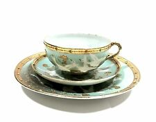 Antique Hand Decorated Gold Rimmed Jeweled Porcelain Japanese Cup, Saucer &Desse