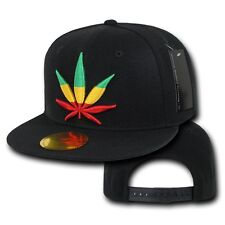 Black Rasta Weed Leaf Pot Cannabis Marijuana Flat Bill Snapback Baseball Cap Hat