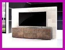 Meuble tv table basse télévision armoire salon design effet acier antique bronze