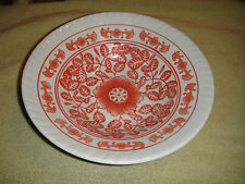 Superb Chinese Or Japanese Ceramic Pottery Bowl-Burnt Red Floral Patterns-Ribbed