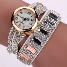 Women Crystal Wrist Watch Band Wave Bracelet Dial Quartz Analog Wrap Watch Beige