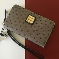 NWT Dooney & Bourke Grey Leather Zip Around Wallet Phone Wristlet Clutch WO102