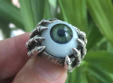 Attractive HEAVY LARGE Unusual Sterling Silver EYE & Skeleton Hand Ring - Size N