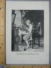 Rare Antique Original VTG Child Knitting Meyer Von Bremen Illustration Art Print