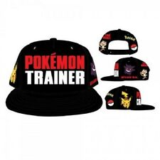 OFFICIAL NINTENDO'S POKEMON TRAINER CHARACTERS, SYMBOLS BLACK SNAPBACK CAP (NEW)