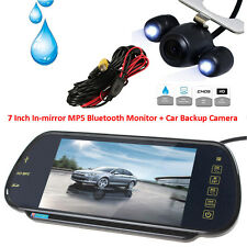 "2 LEDs Night Vision Reverse Camera+7"" MP5 Bluetooth Car Rearview Mirror Monitor"