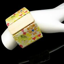 Vintage Bracelet Painted Wood Panels Extra Wide Yellow Red Small Wrist